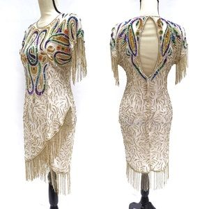 Vtg Multicolor Beaded Fringe Cocktail Dress